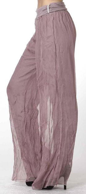 Womens Solid Chiffon Crinkled Pants - orangeshine.com