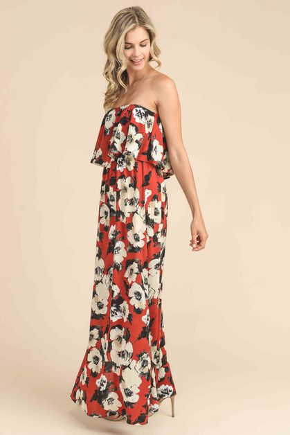 PREMIUM FLOWER MAXI DRESS - orangeshine.com