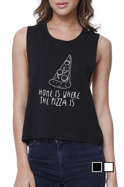 Home Where Pizza Is Crop Top - orangeshine.com