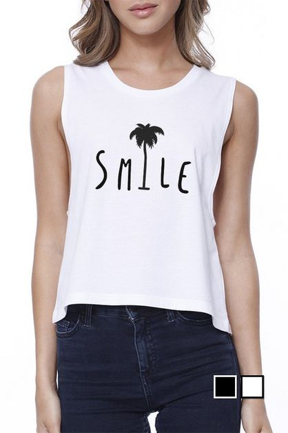 SMILE PALM TREE CROP TEE - orangeshine.com