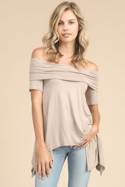 MODAL FABRIC TUNIC TOP WITH OFF THE  - orangeshine.com