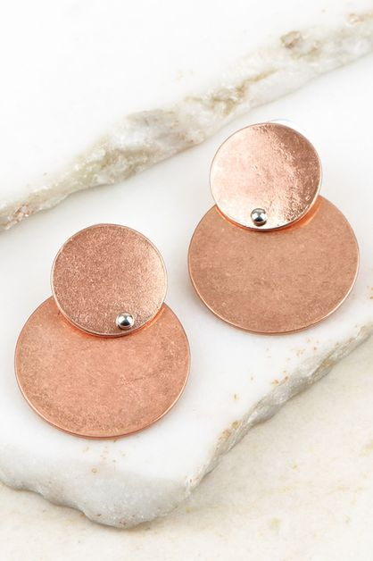 DOUBLE CIRCLE POST EARRINGS - orangeshine.com