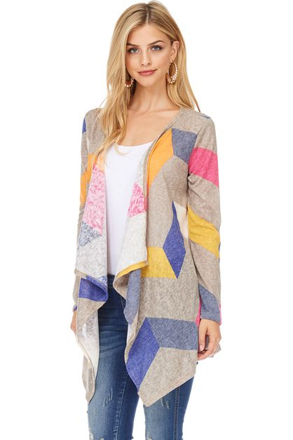 SOFT KNIT CHEVRON PRINT CARDIGAN - orangeshine.com