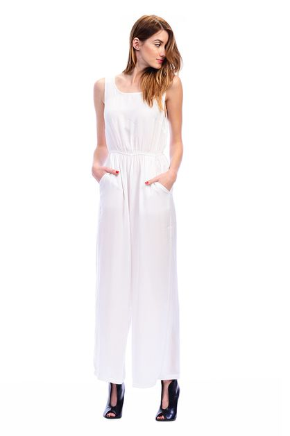 Sleeveless Wide Leg Vback Jumpsuit - orangeshine.com