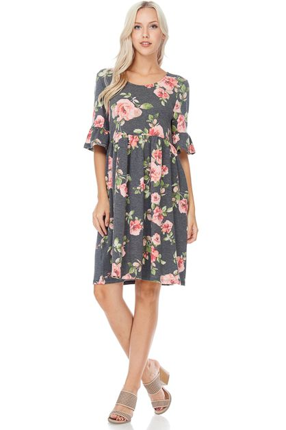 SLEEVE FLORAL MIDI DRESS - orangeshine.com