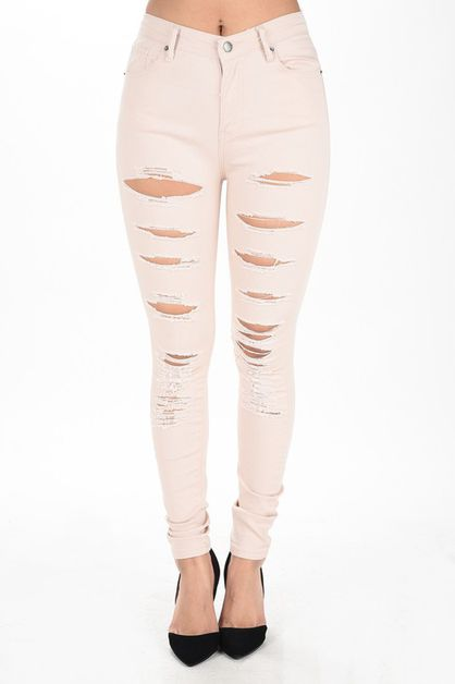 HIGH RISE DESTROYED SKINNY PANTS - orangeshine.com