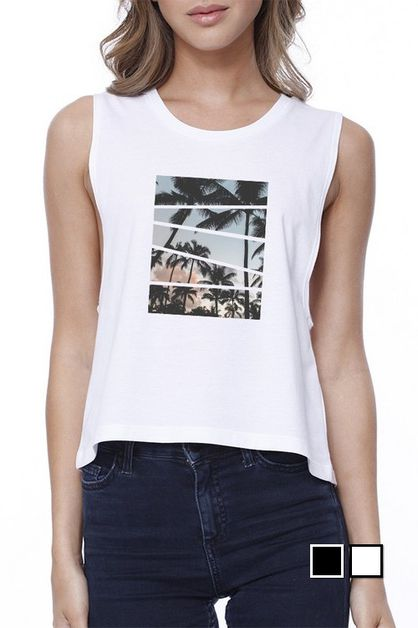 PALM TREES SPLIT CROP TEE - orangeshine.com