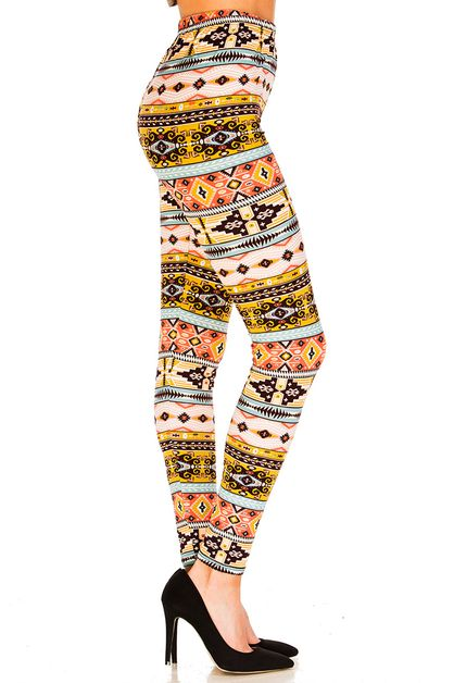 Aztec Inspired Printed Leggings - orangeshine.com
