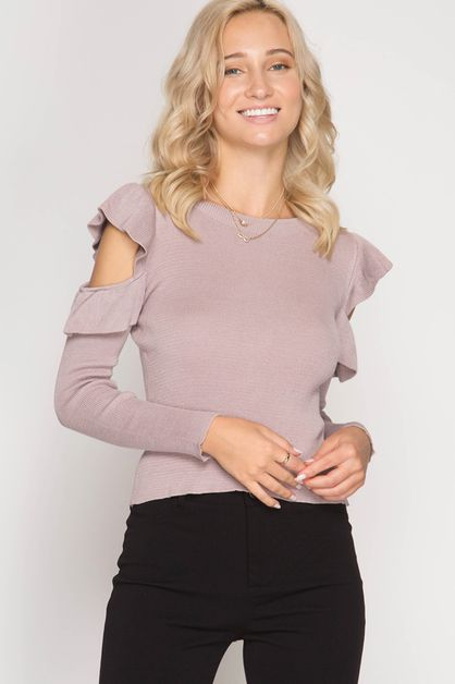 SL5238 - COLD SHOULDER SWEATER TOP  - orangeshine.com