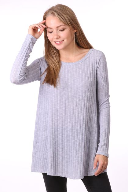 RIB KNIT ROUND NECK TOP - orangeshine.com