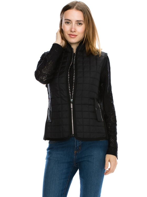 Quilted Lightly Padded Vest - orangeshine.com