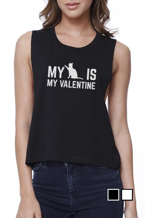 My Cat Is My Valentine  Crop Tee - orangeshine.com