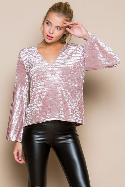 VELVET BURNOUT WRAP TOP  - orangeshine.com