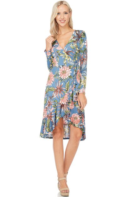FLORAL PRINT LONG SLEEVE DRESS - orangeshine.com