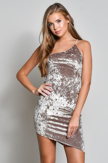 CRUSHED VELVET ONE SHOULDER DRESS - orangeshine.com