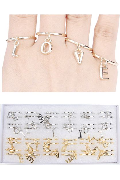 4-pc LOVE Ring Set - orangeshine.com