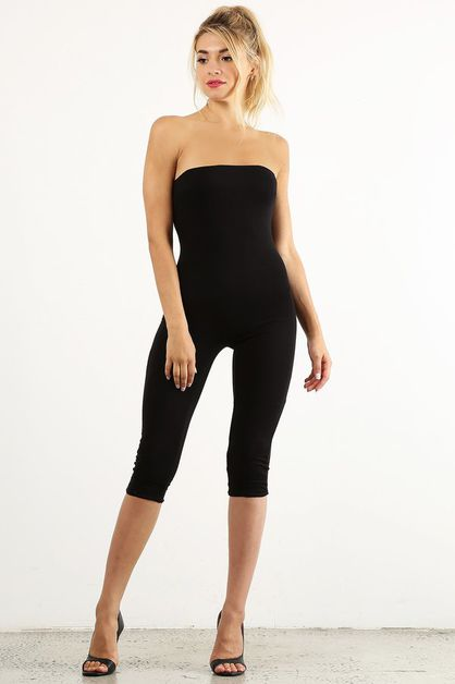 Black Tube Capri Jumpsuit - orangeshine.com