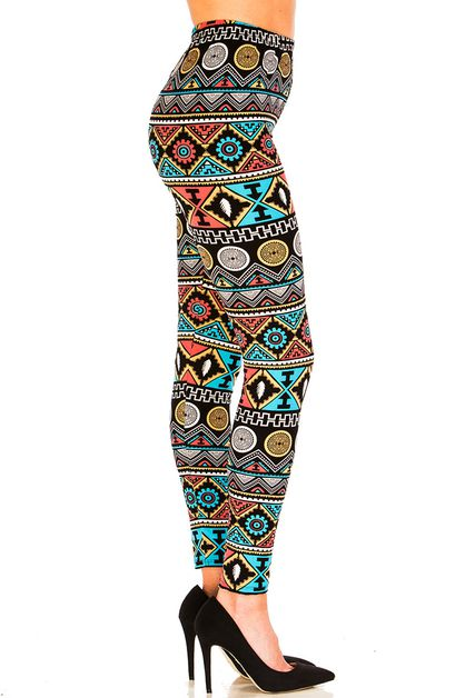 Aztec Print Brushed Leggings - orangeshine.com