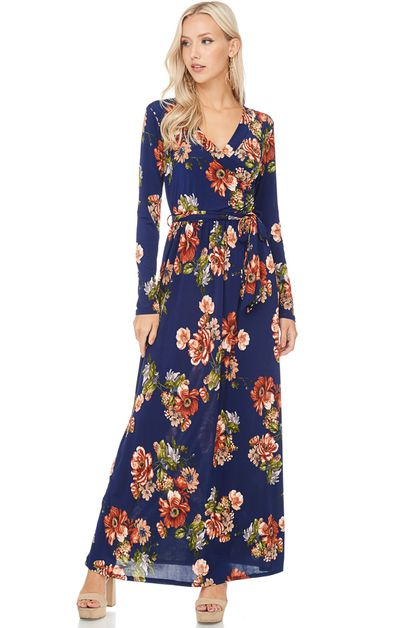 FLORAL PRINT LONG SLEEVE MAXI DRESS - orangeshine.com