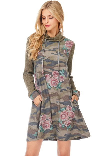 LONG SLEEVE CAMO FLORAL DRESS - orangeshine.com