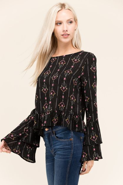 RUFFLE  EDGE BLOUSE          - orangeshine.com