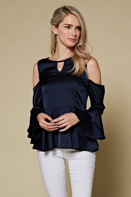 SATIN COLD SHOULDER RUFFLE SLEEVE - orangeshine.com