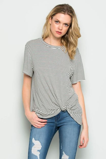 SHORT SLEEVE STRIPE KNOTTED TOP - orangeshine.com