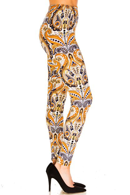 Floral Print Brushed Leggings - orangeshine.com