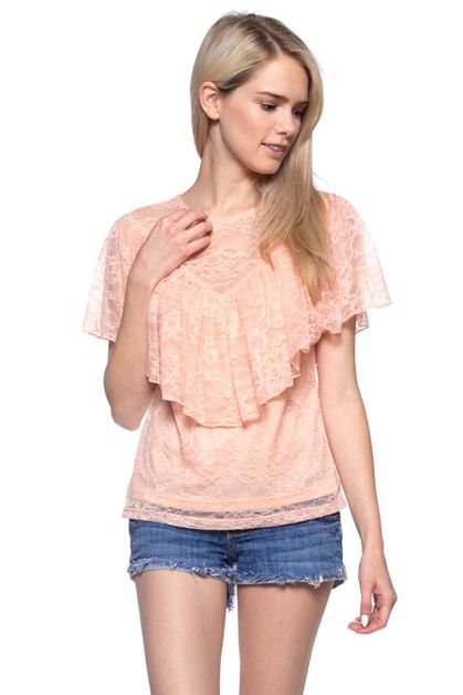 solid lace fashion top - orangeshine.com