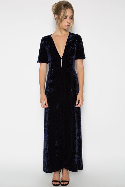 CRUSHED VELVET MAXI DRESS - orangeshine.com