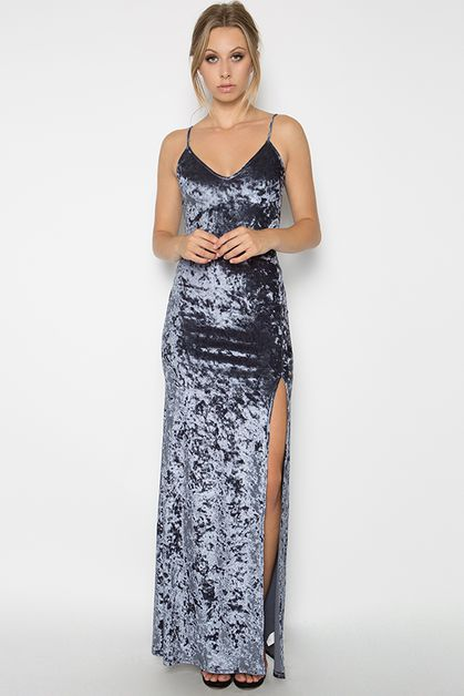 CRUSHED VELVET MAXI TANK DRESS  - orangeshine.com