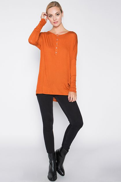 KNIT OVERSIZED TOP WITH LONG SLEEVES - orangeshine.com