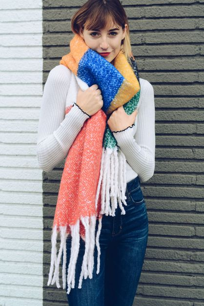 Rainbow Color Block Scarf - orangeshine.com