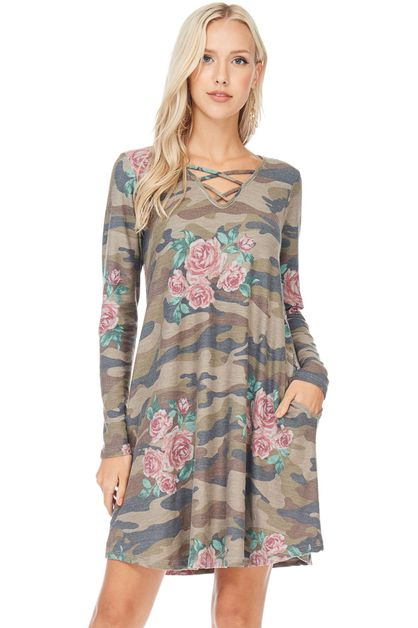 CAMO FLORAL LONG SLEEVE MIDI DRESS - orangeshine.com