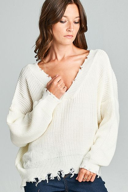 Distressed Sweater - orangeshine.com