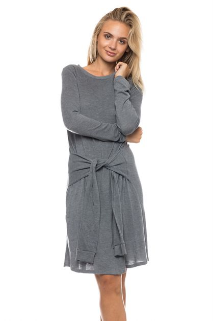 LONG SLEEVE TIE FRONT MIDI DRESS - orangeshine.com