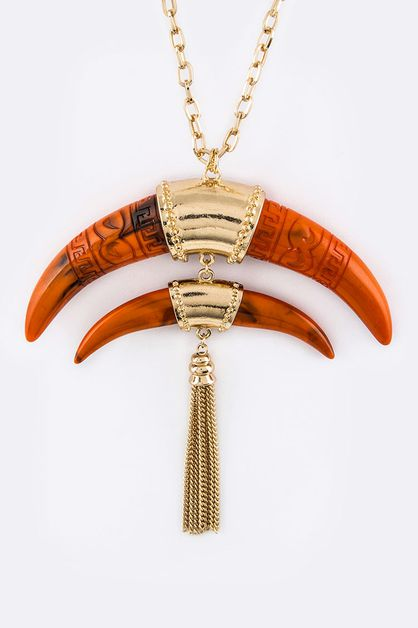 Carved Horns  Chain Necklace - orangeshine.com
