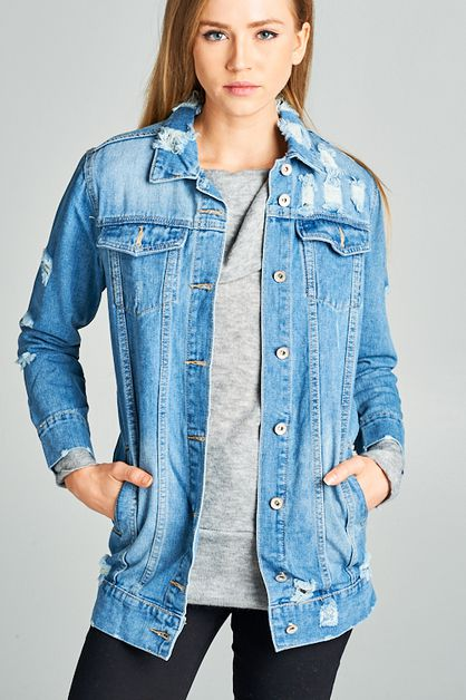 Distressed Denim Jacket - orangeshine.com