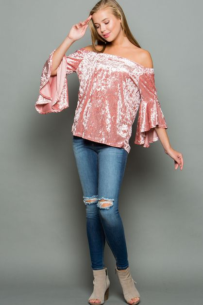 VELVET BELL SLEEVE OFF SHOULDER TOP - orangeshine.com