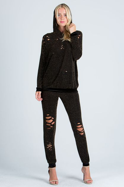 LUREX KNIT RIPPED HOODIE LONG  PANTS - orangeshine.com
