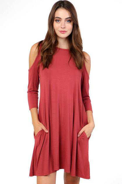 MODAL COLD SHOULDER POCKET DRESS - orangeshine.com