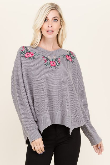 EMBROIDERED SWEATER TOP - orangeshine.com