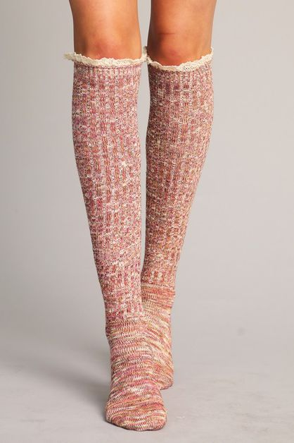 MULTI COLOR MELANGE OVER KNEE - orangeshine.com