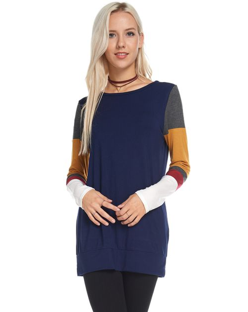 Round Neck Color Block Sleeves Tops - orangeshine.com