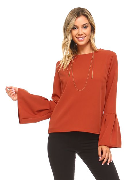SOLID TRUMPET BELL SLEEVE TOP - orangeshine.com