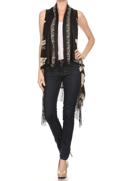 print knit vest with fringe - orangeshine.com