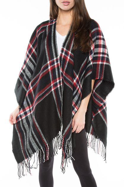 PLAID PONCHO  - orangeshine.com