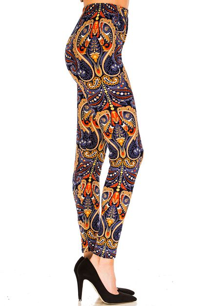 Fashion Print Brushed Leggings - orangeshine.com