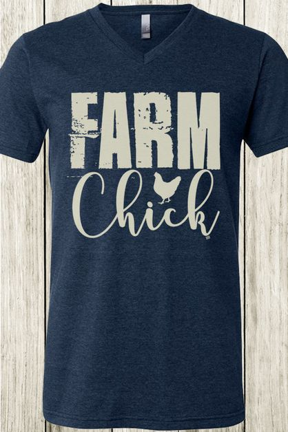Farm Chick Bella Canvas V neck Tee - orangeshine.com