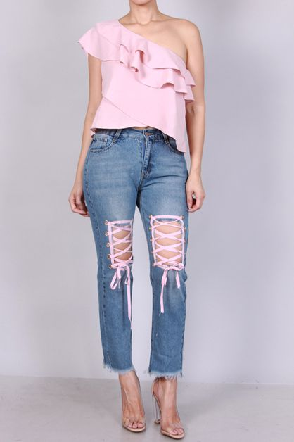 THIGH OPEN PINK LACE UP JEAN - orangeshine.com